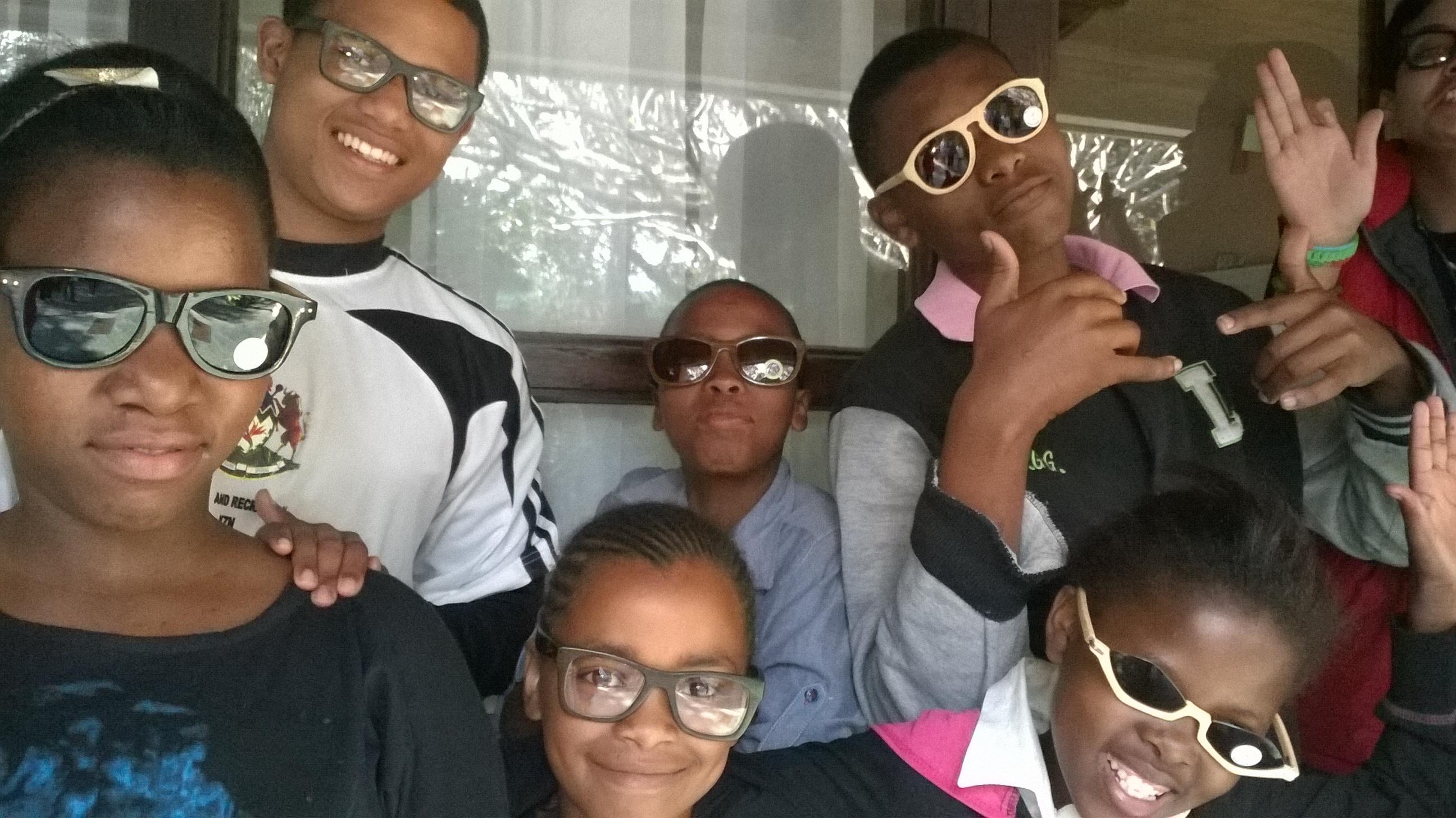 Students at Sisonke, love their new bamboo eyewear